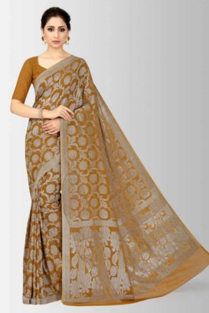 Mimosa banarasi style chiffon saree with unstiched blouse