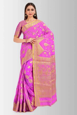 Mimosa banarasi style chiffon saree with unstiched blouse -