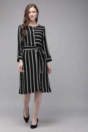 Mimosa black color striped round neck a-line dress for women