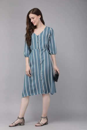 Mimosa blue color striped v-neck a-line dress for women