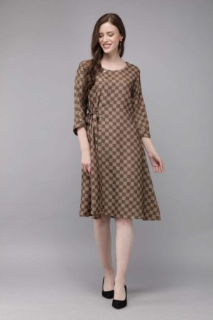 Mimosa brown color checked round neck a-line dress for women