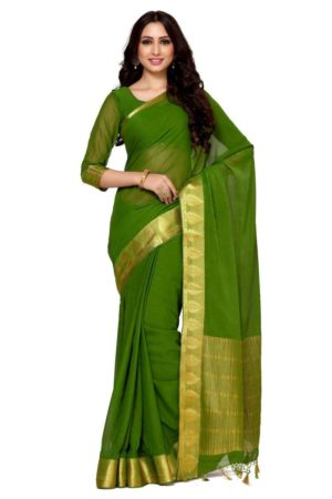 MIMOSA Leaf Design Gold Border Chiffon Kanjivaram Style Saree with Un-stiched Blouse in Color Olive (4090-2130-sd-olv) - mimosaindia