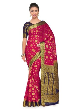 Mimosa Art Chiffon silk Wedding saree Kanjivarm Pattu style With Contrast Blouse. - mimosaindia