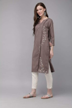 Mimosa cotton brown colour embroidered straight casual kurta