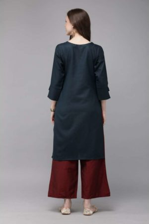 Mimosa cotton navy blue colour embroidered straight casual