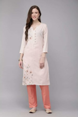 Mimosa cotton pink colour embroidered straight casual kurta