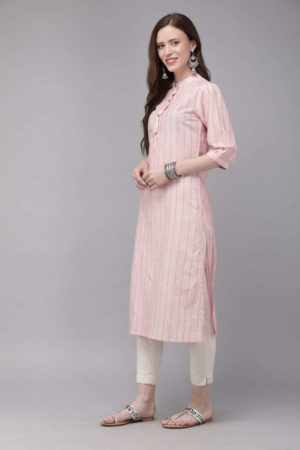 Mimosa cotton pink colour striped straight casual kurta for