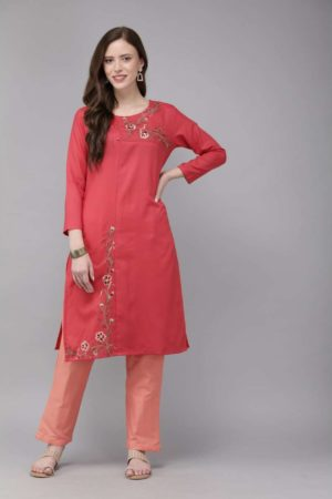 Mimosa cotton red colour embroidered straight casual kurta