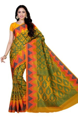 MIMOSA Multicolor Zig Zag Pattern Border Cotton Silk Saree with Blouse in Color Gold and Green (4070-ab-19-gld) - mimosaindia