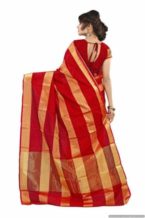 MIMOSA Art Silk Saree and Blouse in Color Maroon with Golden Stripped Zari Work - mimosaindia