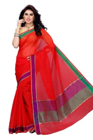 MIMOSA Elegant Stripped Design Cotton Saree with Blouse in Color Orange (3146-rz-5-orng) - mimosaindia