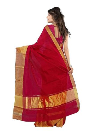 Mimosa cotton saree with unstiched blouse - maroon