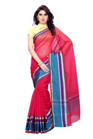 MIMOSA Cotton Lining Pattern Saree and Blouse in Color Pink (3143-rz-2-rani) - mimosaindia