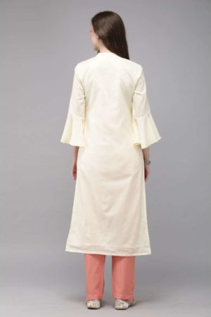 Mimosa embroidered straight kurta with trousers for women