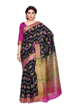 MIMOSA Zig Zag Design Border Ikkat Style Tussar Silk Saree with Blouse in Color Black and Pink (4149-saln-7-blk-rni) - mimosaindia