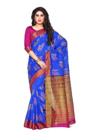 MIMOSA Peacock Pattern Ikkat Style Tussar Silk Saree with Blouse in Color Royal Blue and Magenta (4130-saln-5-rblu-mej) - mimosaindia