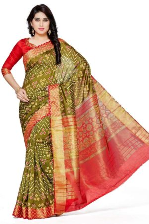 MIMOSA Latest Ikkat Style Tussar Silk Saree with Blouse in Color Olive and Maroon (4114-saln-1-olv-mrn) - mimosaindia