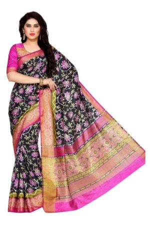 MIMOSA Floral Design Ikkat Style Tussar Silk Saree with Blouse in Color Black and Magenta (4126-saln-4-blk-mej) - mimosaindia