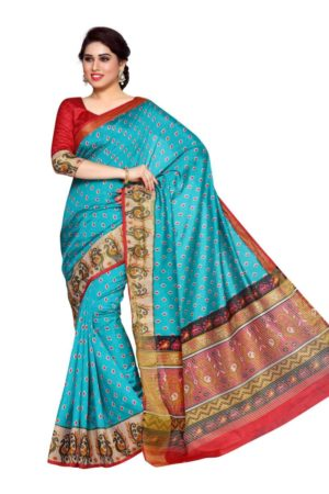 MIMOSA Designer Collection Ikkat Style Tussar Silk Saree with Blouse in Color Turquoise Blue and Strawberry (4148-saln-6-rma-strw) - mimosaindia