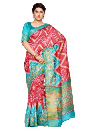 MIMOSA Ikkat Pattern Tussar Silk Saree with Blouse in Color Strawberry (4115-saln-2-strw) - mimosaindia