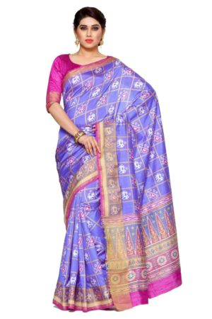 MIMOSA Latest Collection Ikkat Style Tussar Silk Saree with Blouse in Color Violet (4116-saln-3-vlt-rni) - mimosaindia