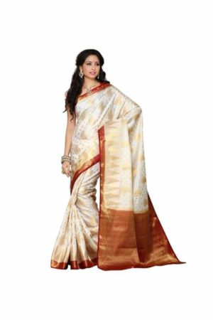 MIMOSA Traditional Wear Kanjivaram Art Silk Saree with Blouse in Color Off White and Maroon (3345-166-hwt-mrn) - mimosaindia