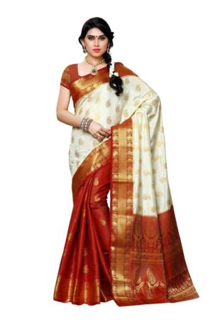 MIMOSA Patli Kanjivaram Artificial Silk Saree with Contrast Blouse in Color Off White and Maroon (3413-225-pt-hwt-mrn) - mimosaindia
