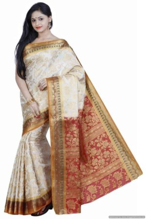 MIMOSA Traditional wear Art Silk Kanjivaram Style Saree with Blouse in Color Off White and Maroon (3364-149-hwt-mrn) - mimosaindia