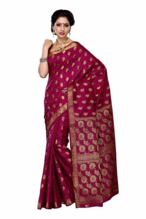 MIMOSA Latest Collection Tussar Silk Saree with Blouse in Color Magenta (3186-103-tus-mej) - mimosaindia