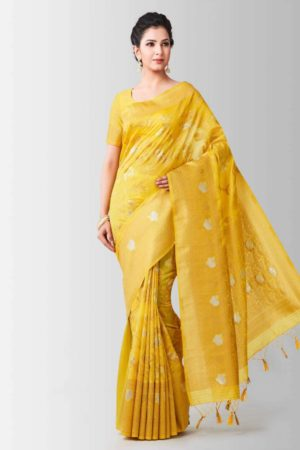 Mimosa lenin silk saree with unstiched blouse