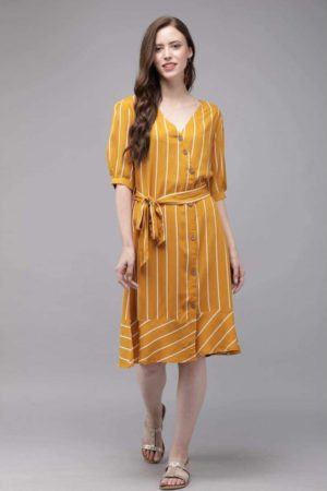 Mimosa mustard yellow color striped v-neck a-line dress for