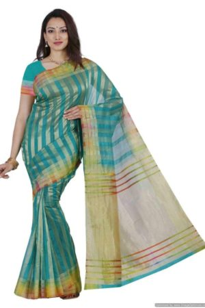 MIMOSA Multicolor Border Striped Design Net Saree with Blouse in Color Rama/Turquoise (3440-prs1-rma-mlty) - mimosaindia