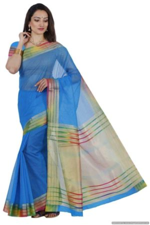 MIMOSA Multicolor Border Fancy Style Net Saree with Blouse in Color Sky Blue (3439-prs2-and-mlty) - mimosaindia