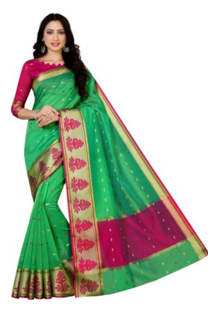 MIMOSA Kanjivaram Style Paithani Saree with Blouse in Color Green (4067-ab-10000-grn) - mimosaindia