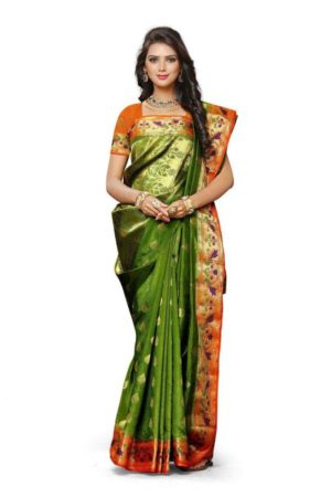 MIMOSA Indian Style Paithani Art Silk Saree with Blouse in Color Olive and Orange (3435-2105-olv-org) - mimosaindia