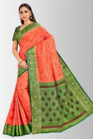 Mimosa paithani style art silk saree with unstiched blouse