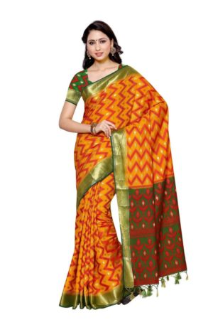 Mimosa patola art silk saree with unstiched blouse - gold