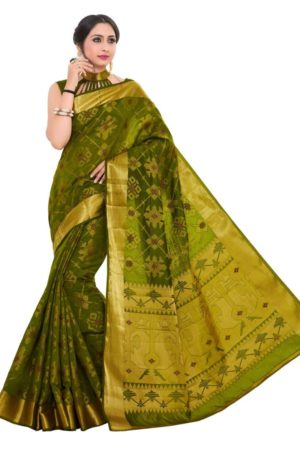 Mimosa patola art silk saree with unstiched blouse