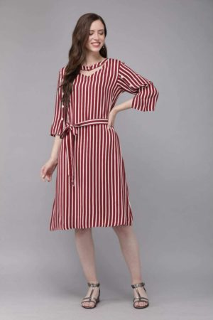 Mimosa purple color striped v-neck a-line dress for women -