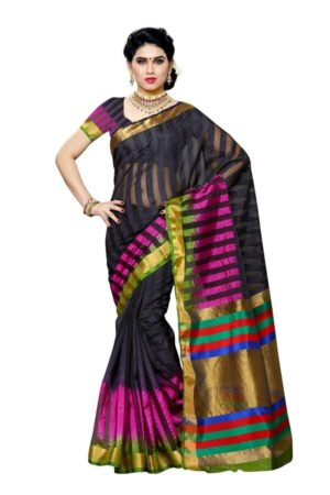 MIMOSA Dye & Dye Style Raw Silk Saree with Blouse in Color Black (3426-prs9-3d-blk) - mimosaindia