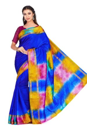 Mimosa raw silk saree with unstiched blouse - blue