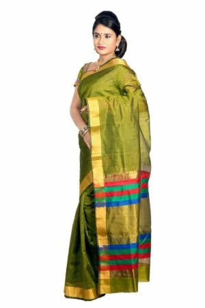 MIMOSA Raw Silk Saree with Multicolor Stripped Pallu and Un-Stitched Blouse in Color Olive (3211-a-prs16-bl-olive) - mimosaindia