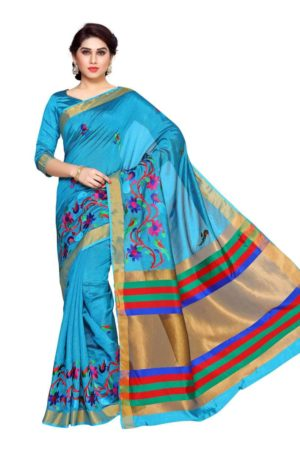 MIMOSA Latest Collection Hand Embroidery Work Art Silk Kanjivaram Style Saree with Blouse in Color Sky Blue (4137-prs15-am-11-and) - mimosaindia