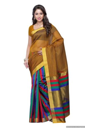 MIMOSA Art Silk Fancy Saree and Blouse in Color Gold with Zari Work - mimosaindia