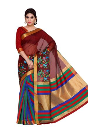 MIMOSA Striped Design Hand Embroidery Work Art Silk Saree with Blouse in Color Maroon (4140-prs12-am-13-mrn) - mimosaindia