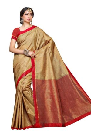 MIMOSA Striped Art Silk Kanjivaram Style Saree with Contrast Blouse in Color Chiku and Red (3389-prs10-2d-cku-rd) - mimosaindia