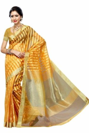 MIMOSA Striped Design Tussar Silk Saree with Blouse in Color Mustard (3225-prs30-must) - mimosaindia