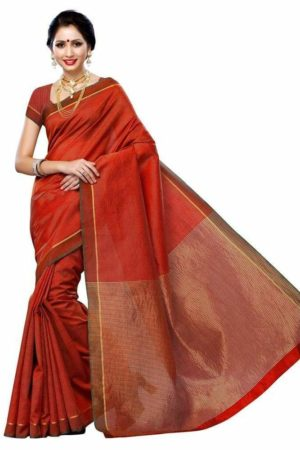 MIMOSA Striped Design Art Silk Saree with Plain Blouse in Color Maroon (3224-prs10-mrn) - mimosaindia