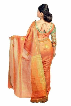 MIMOSA Simple Butta Design Raw Silk Saree with and Blouse in Color Orange (3208-a-prs10-bl-org) - mimosaindia
