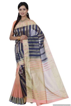 MIMOSA Bollywood Style Art Silk Saree with Blouse in Color Navy Blue and Peach (3394-hh-prs1-nvy-pch) - mimosaindia